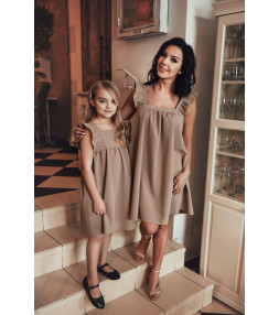 """Sukienka dziewczęca z kwadratowym dekoltem """"Mama i Córka"""" LD43"""