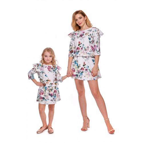 """Sukienka dla córki Latori """"Mama i córka"""" Odcinana ld8/5 w kwiaty"""
