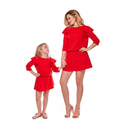 """Sukienka """"Mama i córka"""" Odcinana dla córki - LD8/2 (Czerowna)"""