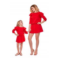 """Sukienka """"Mama i córka"""" Odcinana dla córki - LD8/2 (Czerwona)"""