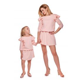 """Sukienka """"Mama i córka"""" Odcinana dla córki - LD8/3 (Pudrowy Róż)"""