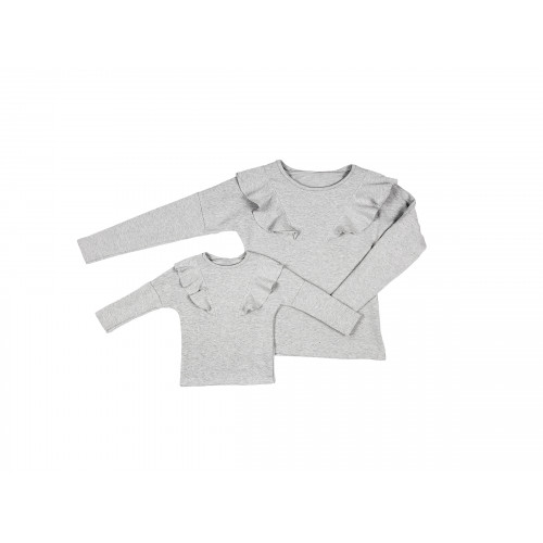 LATORI - Komplet bluz dla mamy i córki LM14/2 LD14/2 jasno-szary