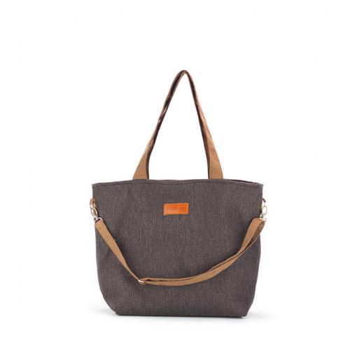 Duża torba shopper Mili Duo Braid MDB1- brązowa