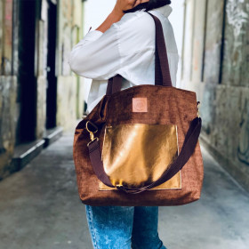 Torba shopper Mili Chic MC6 – brąz/złoto