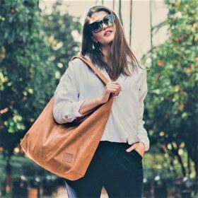 Duża torba worek  Mili Chic MC7 –camel