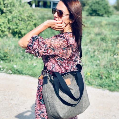 Duża torba typu shopper Mili Duo MDB2 - ciemna zieleń