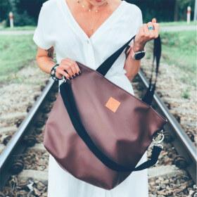 Duża torba typu shopper Mili Duo MD2 -brązowa