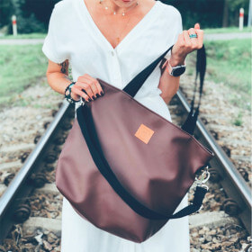 Duża torba typu shopper Mili Duo MD2 - czekoladowy brąz