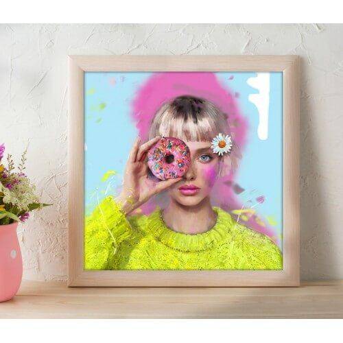 """Obraz na płótnie  """"Lady Donut"""" 100x100 cm"""