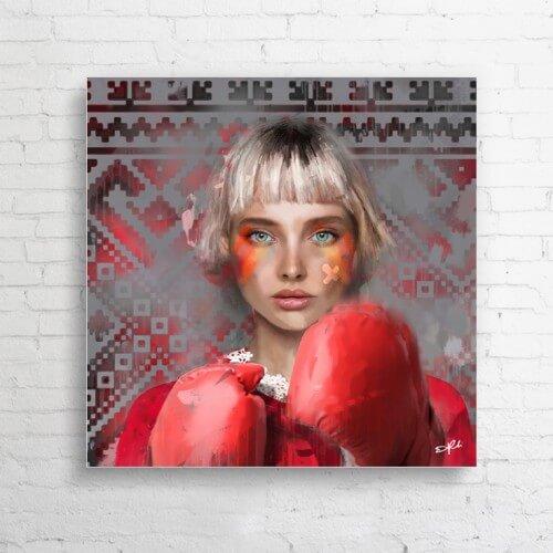 """Obraz na płótnie  """"Lady Boxing"""" 100x100 cm"""