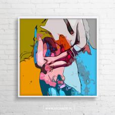 """Obraz na płótnie """"Kolorowy Akt III"""" 90x90cm"""