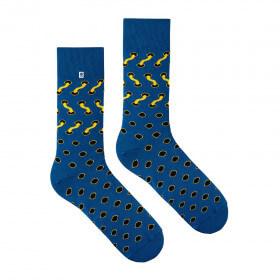 Niebieskie Skarpetki męskie w żółte Sznurówki