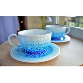 Ręcznie malowane filiżanki Błękitne Ombre