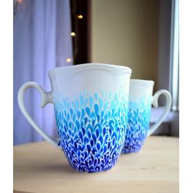 Ręcznie malowane kubki ombre błękitne 2 x 350 ml
