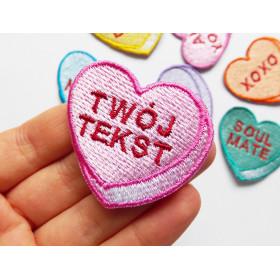 Naszywka TWÓJ TEKST Candy Heart