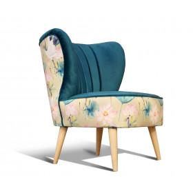 fotel klubowy, uszak, koktajlowy, lata 50 60   niebieski