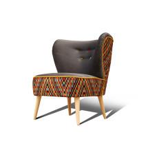 fotel klubowy, uszak, koktajlowy, lata 50 60 | niebieski