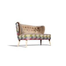 Sofa klubowa, 2 osobowa, PRL, lata 50 60 | khaki
