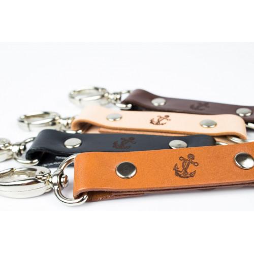 Skórzany brelok na klucze z karabinkiem - kotwica