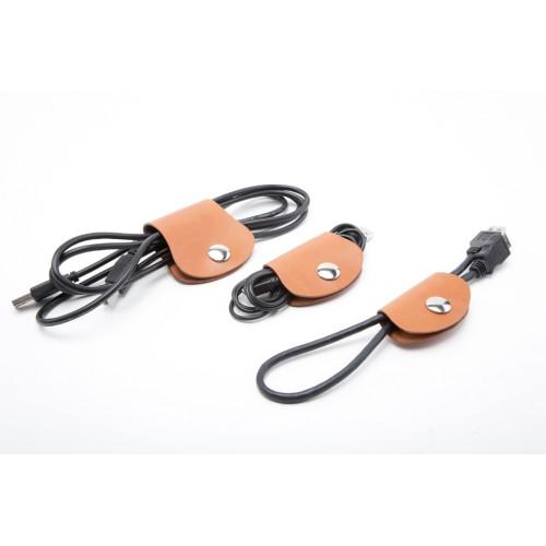 Zestaw zapięć do kabli, skórzany organizer do przewodów - 3 szt