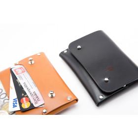Skórzany portfel na karty, monety i dowód rejestracyjny - knopiki