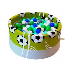 Suchy basen 90x40cm z piłkami 250 szt  - grube dno 4 cm  - piłki na zielonym tle