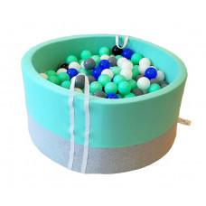 Suchy basen 90x40cm z piłkami 250 szt  - grube dno 4 cm  - melanż z miętą
