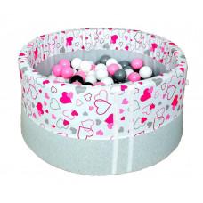 Suchy basen 90x40cm z piłkami 250 szt  - grube dno 4 cm  - różowe serduszka