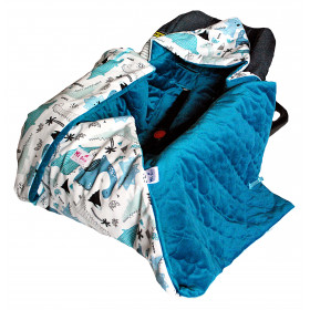 Kocyk do fotelika- zimowy Dinozaury& velvet blue