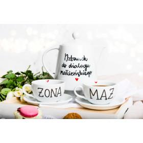 Zestaw Porcelanowy Dzbanek do dialogi + filiżanki  250 ml - ŻONA, MĄŻ