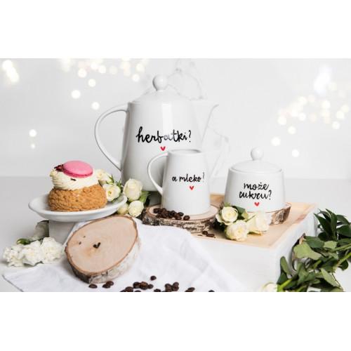 Zestaw Porcelanowy Dzbanek herbatki? + Cukiernica może cukru? + Mlecznik a mleko?