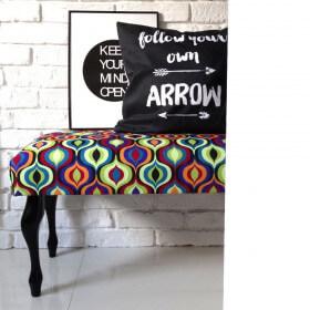 Ale ławeczka AMBER ławka siedzisko do przedpokoju wzorzyste tapicerowane