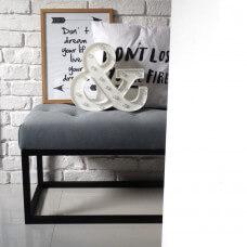 Ale ławeczka SZARA LOFT pikowana ławka siedzisko do przedpokoju  tapicerowane