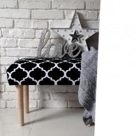 Ale ławeczka KONICZYNA czarna ławka siedzisko do przedpokoju wzorzyste tapicerowane