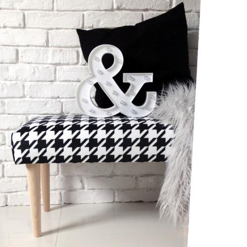 Ale ławeczka PEPITKA ławka siedzisko do przedpokoju wzorzyste tapicerowane