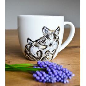 Porcelanowy Kubek wilcza rodzina