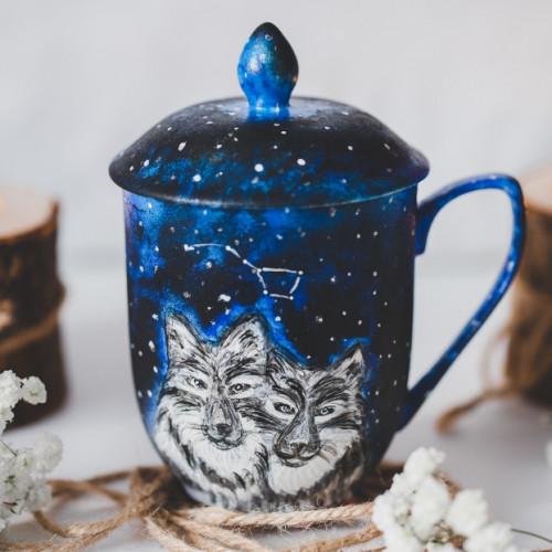 Kubek ręcznie malowany wilki zaparzacz i przykrywka