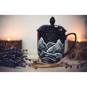 Porcelanowy Kubek góry z przykrywką i zaparzaczem