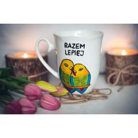 Porcelanowy Kubek papugi - Dobrze, że jesteś