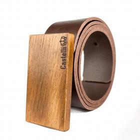 Castelli pasek skórzany z drewnianą klamrą grawer 4 cm prezent naturalna skóra drewno