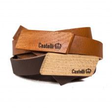 Castelli pasek skórzany z drewnianą klamrą grawer 2 cm prezent naturalna skóra drewno