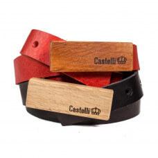 Castelli pasek skórzany z drewnianą klamrą grawer 2 cm prezent naturalna skóra drewno damski