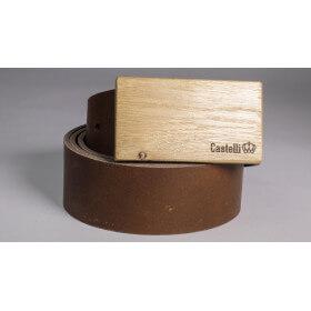 Castelli pasek skórzany z drewnianą klamrą grawer 3 cm prezent naturalna skóra drewno