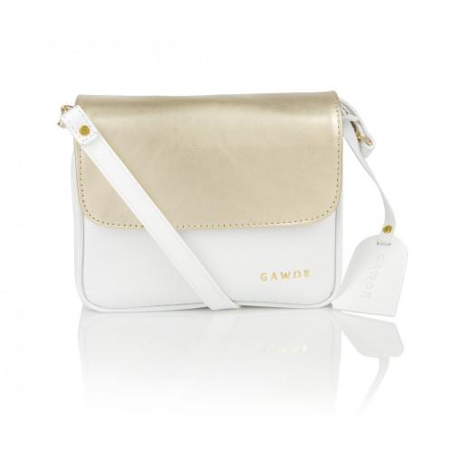 Skórzana torebka mini biało-złota Clarisse