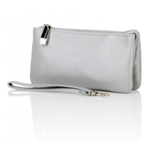 Skórzany portfel Lou popiel perła