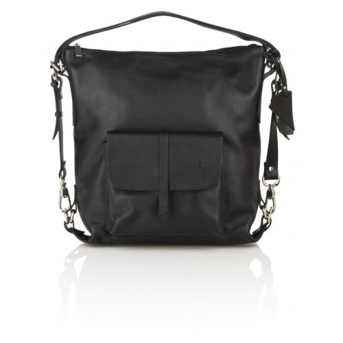 Skórzany czarny torebko-plecak Monique