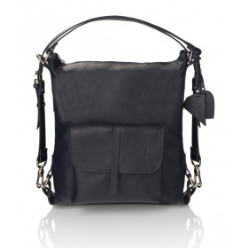 Skórzany granatowy torebko-plecak Monique
