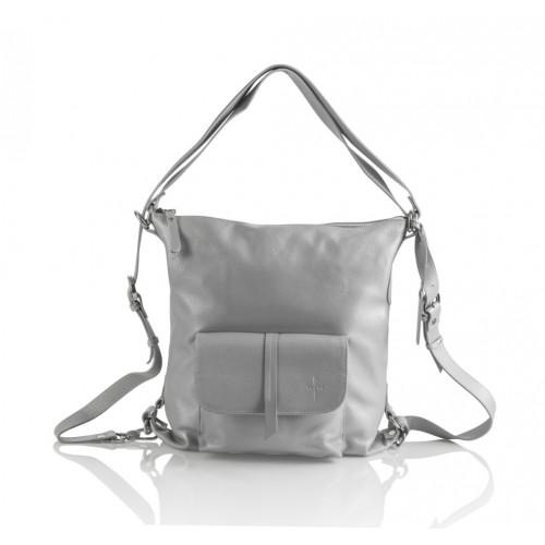 Skórzany popielaty torebko-plecak Monique