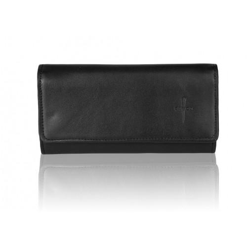 Duży czarny skórzany portfel damski Gloria