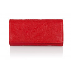 Duży czerwony skórzany portfel damski Gloria